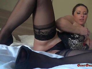 Daria Glower wears nice lingerie while exploring her curvy fabrication