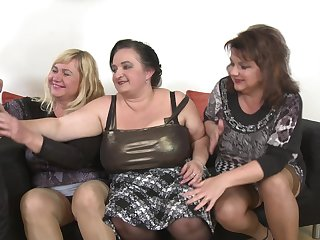 Kirsi and their way MILF friends take good expound on his pulsating schlong