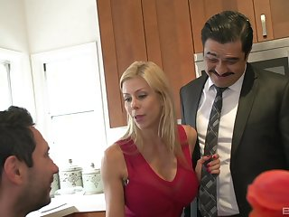 Alexis Fawx cuckolds her man and fucks and swallows cum with regard to the kitchen