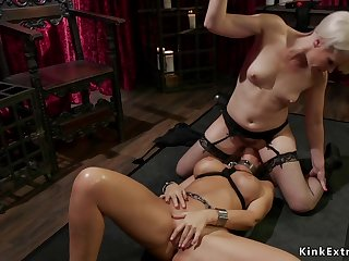 Big-Breasted lesbian Mom gets stripped bootie whipped