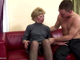 Gorgeous mother gets anal sex and pissing outsider son