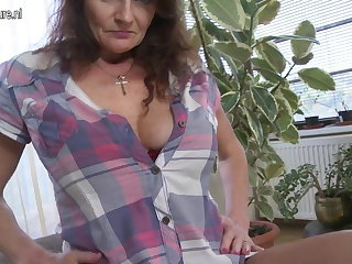 Big breasted granny getting wet with an increment of wild