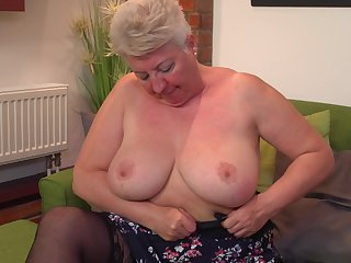 Discourteous haired mature clumsy blonde granny Babet spreads her ass