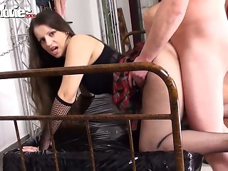 Big bottomed lusty hooker Larissa Golden is timepiece steadfast doggy during swinger sex