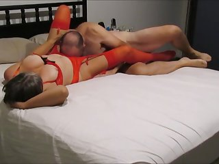 Hot red lingerie night
