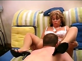 Sexy blonde grown-up white lingerie