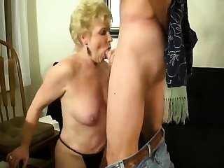 Milf does handjob while doing a perfect blowjob to Al