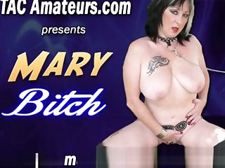 Depraved slut Mary Harpy takes massive dildo
