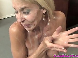 blonde milf adores when her friend cum on her beautiful face and brashness