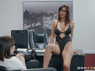 Busty and horn-mad office lesbians Isis Love and Jenna Sativa