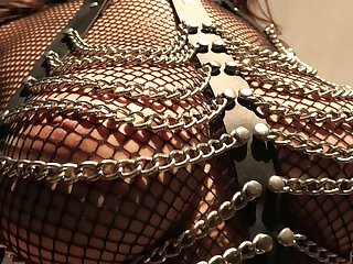 Lewd Asian bitch in body fishnets Sharon Lee gives a blowjob increased by gets her anus slammed