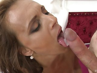 Blonde mature whore Sofie swallows cum after a hard missionary fuck