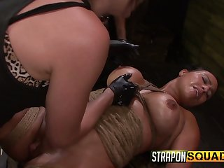 Several kinky mistresses fuck pussy of one busty predestined up lesbian hooker