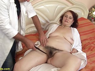 chubby 6 old hairy shrub grandma gets deep fucked by her hairdresser
