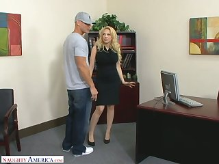 Posh blond cissified chief Kagney Linn Karter fucks new employee right in the cards explore