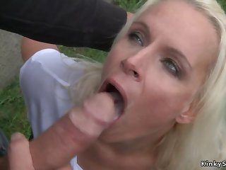 Big-Breasted German blond shagged outdoor