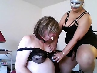 Grown-up femdom humiliates charm dude come by stripping
