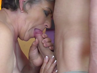 Granny gets young cock prevalent hairy old cunt