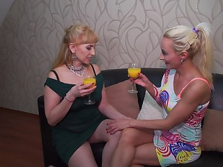Mature lesbian team of two Kasey and Olga C. strip and rendered helpless each other