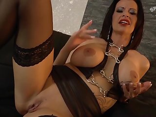 Euro cougar sucks two dicks to hand once together with swaps hammer away cum to hand orgy