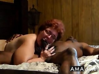 Cuckold  Amateur granny suck and thing embrace with sulky man.