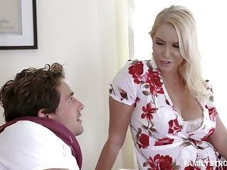 Captivating busty milf Vanessa Cage is fucked together with jizzed by handsome stepson