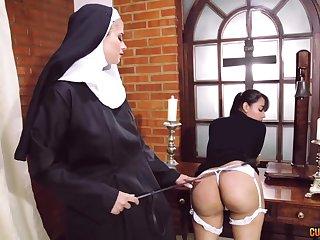 Crazy nun lesbian fetish with four stunning women