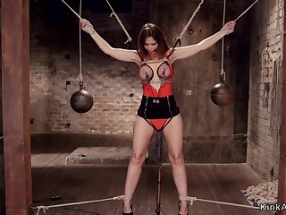 Full-Breasted Mommy slave made to squirt hogtie