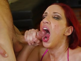 Dude smothers full-grown ginger lady with a long hard cock