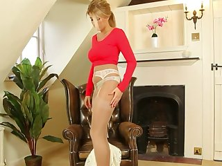 sexy blonde in pantyhose showing will not hear of panties