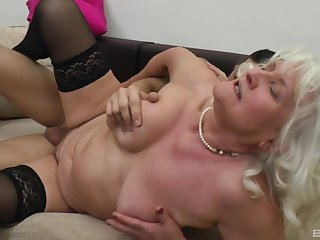 Granny Judit Gali all over swaggering heels and lingeried gets fucked deep