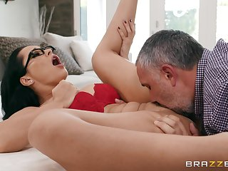 Crystal grinds her ass on his hard cock and tells him everywhere fuck her harder