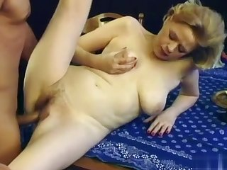 Granny yon saggy tits increased by hairy pussy gets fucked