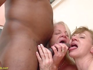 Two crazy old moms give a verge on big unscrupulous cock interracial threesome anal fuck orgy