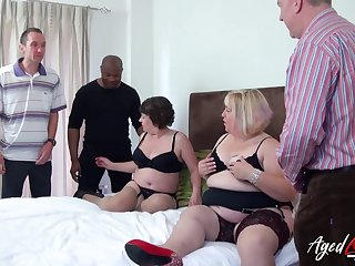 Fat whore Trisha has invited chubby old bitch to work on several cocks