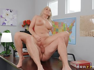 MILF gets laid with the bigwig for a big think twice