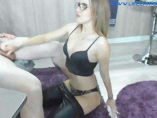 Blond Join in matrimony In Leather Leggings Spread  - bisexual