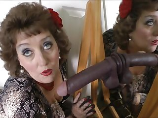 Horny mature woman plays down black fake weasel words