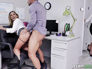 Female big wheel welcomes the needy secretary for a wild threesome