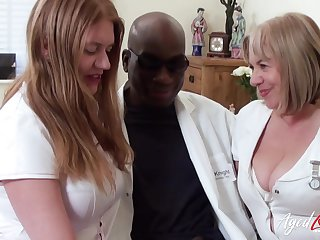 Four BBW nurses apply pain relief to a doctor's big black cock