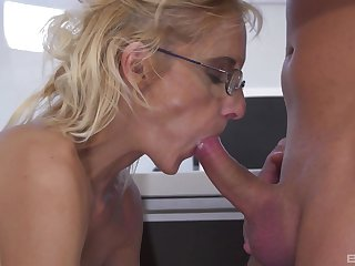 Mature likes to drunk the nephew's dick in their way tiny pussy