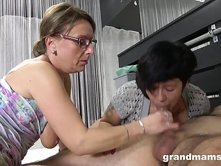 Hideous grown-up sluts battle over duo younger dick and want more