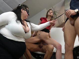 BBW shares the dicks relating to the skinny whore in office orgy