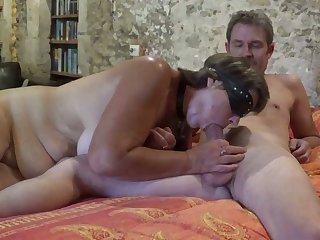 Lusty botch gets blindfolded while giving my buddy a blowjob