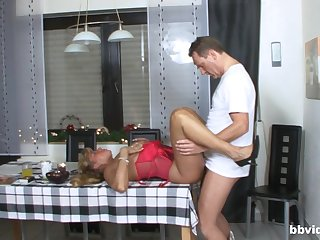 Thick ass mature fucked exceeding the Nautical galley table then made hither swallow
