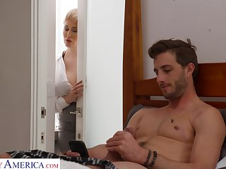 Coxcomb gets caught fapping in his room by his smoking hot stepmom