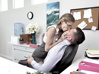 Skinny long legged nerdy secretary rides and sucks strong cock in the slot