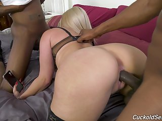 Adventurous super curvy blonde MILF is fond be fitting of really hardcore BBC bottomless pit
