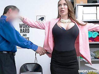 Successfully breasted slutty MILF Bianca Burke is sympathy over and fucked doggy by cop