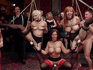 BDSM party respecting eleemosynary kith and kin and sub sluts Lauren Phillips and Eliza Jane